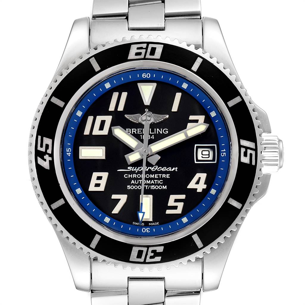 25121 Breitling Superocean 42 Abyss Black Blue Dial Steel Mens Watch A17364 SwissWatchExpo