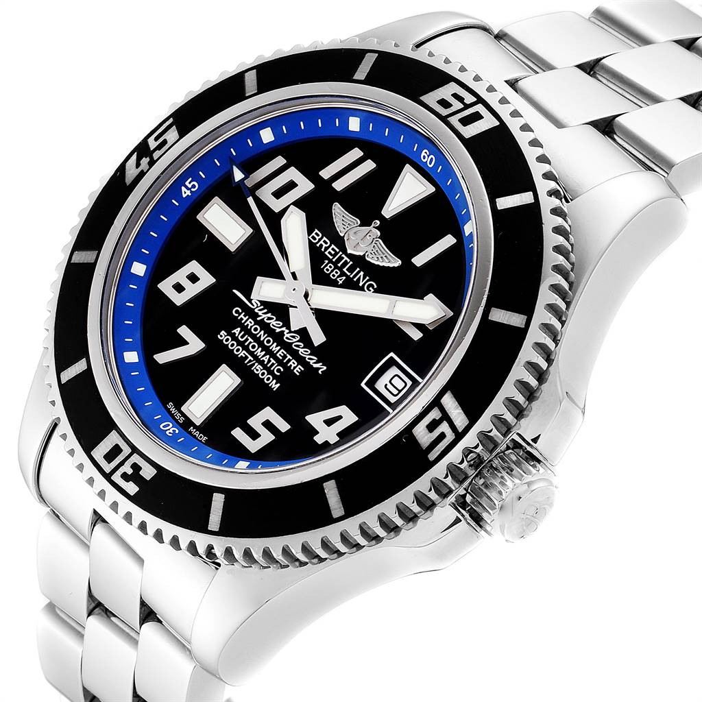 25061 Breitling Superocean 42 Abyss Black Blue Dial Steel Mens Watch A17364 SwissWatchExpo