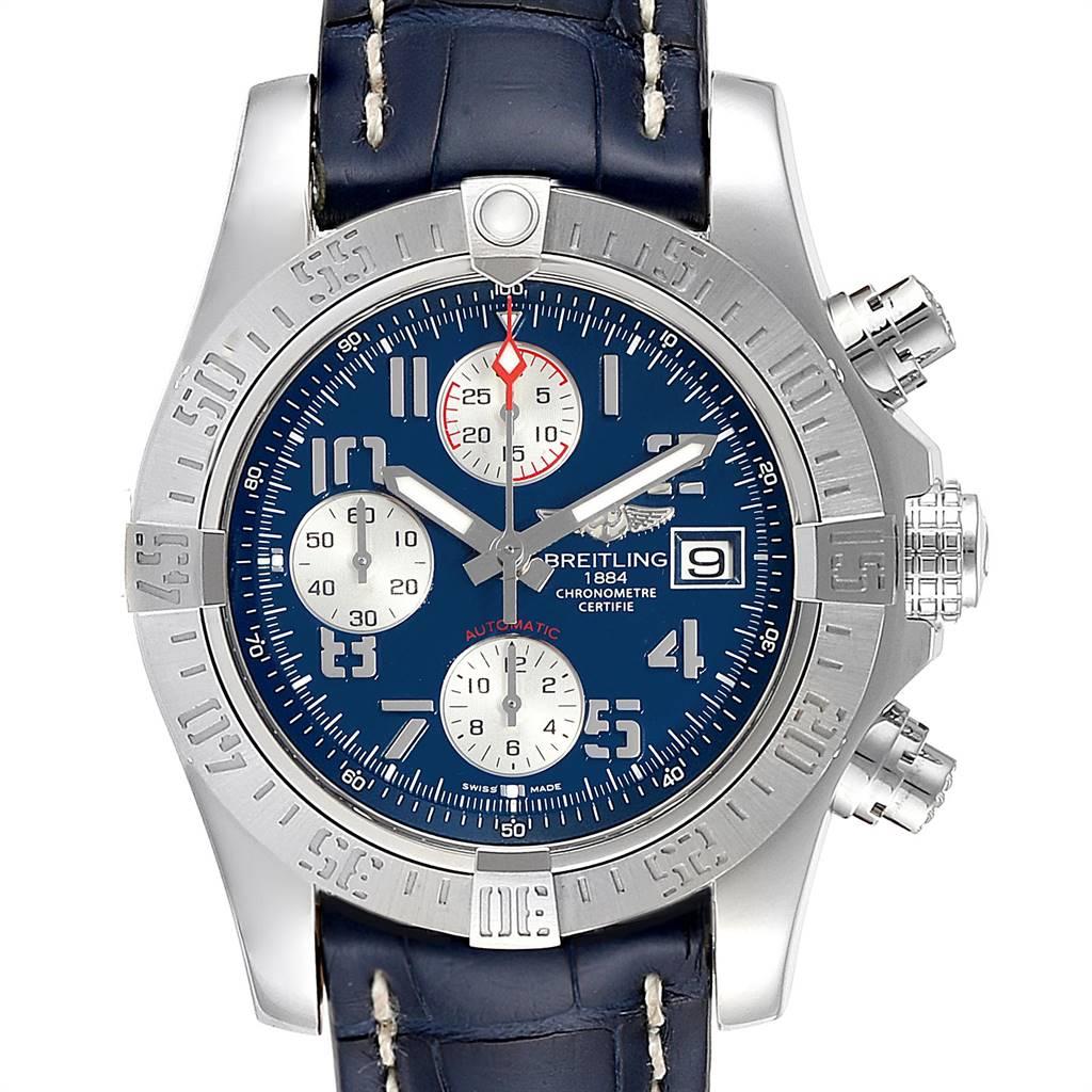 Breitling Aeromarine Avenger II Blue Dial Strap Mens Watch A13381