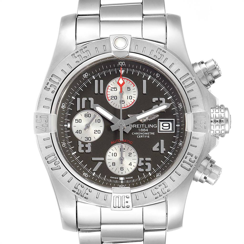 Breitling Super Avenger Tungsten Gray Dial Watch A13381 Papers SwissWatchExpo