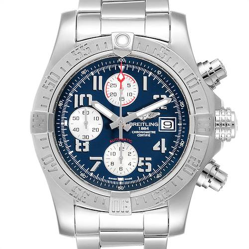 Photo of Breitling Super Avenger Blue Dial Chronograph Mens Watch A13381 Card