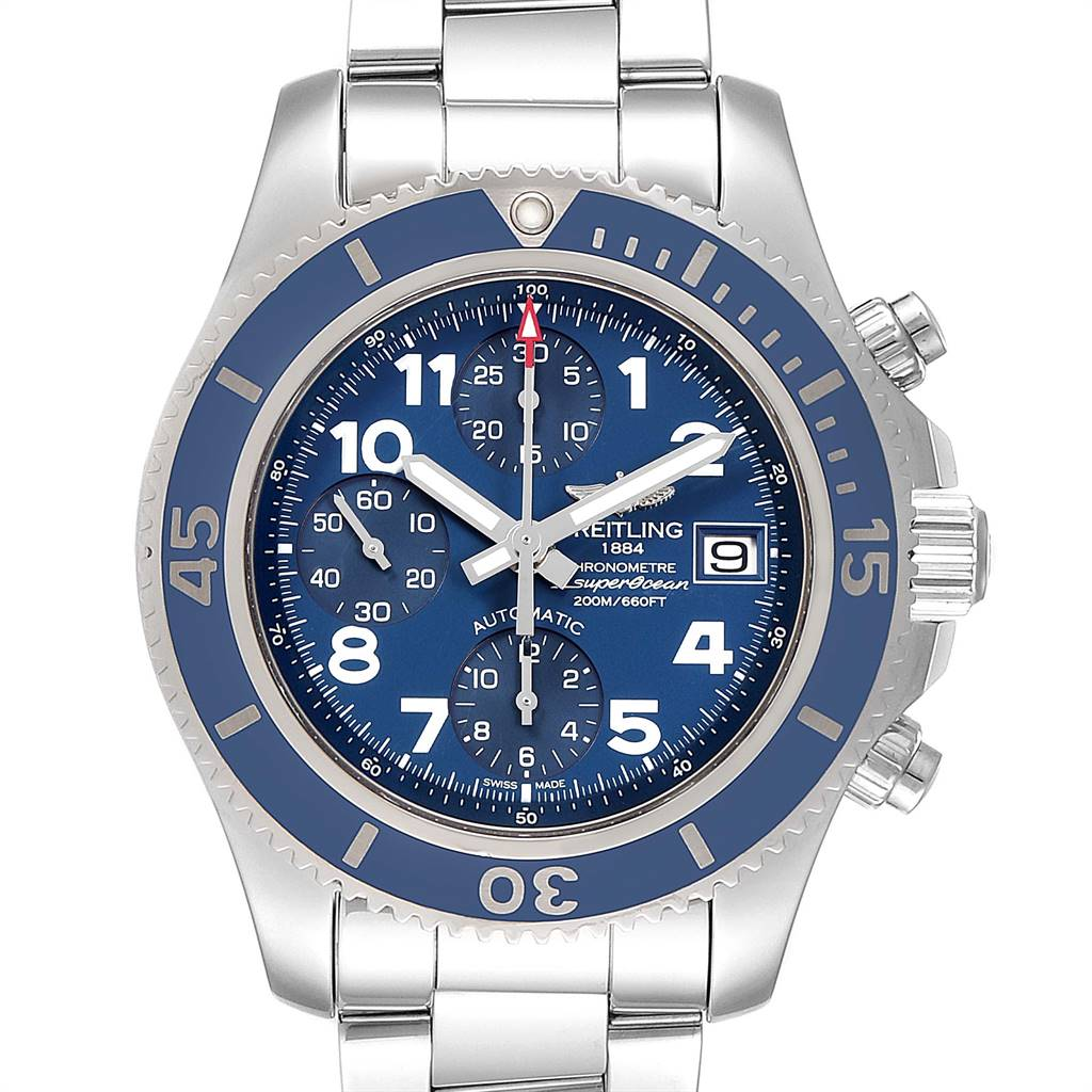 Breitling Superocean Chronograph Blue Dial Mens Watch A13311 Box Papers SwissWatchExpo