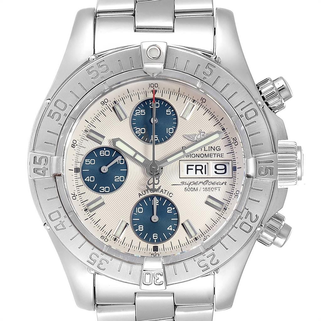 Breitling Superocean Chronograph Silver Blue Dial Mens Watch A13340