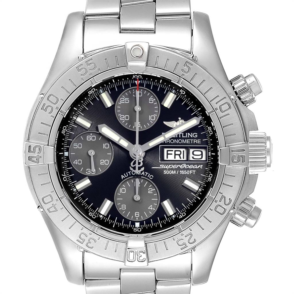 Breitling Superocean Black Dial Chronograph Mens Watch A13340 Box Papers