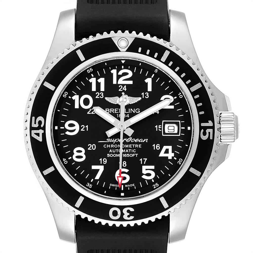 Breitling Superocean II Black Dial Steel Mens Watch A17365 Box Card