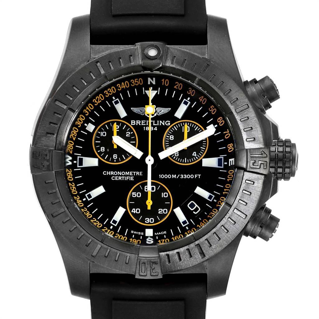 Breitling Avenger Seawolf Blacksteel Chrono Yellow Hands Watch M73390