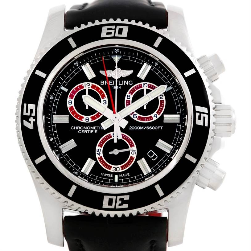 6411 Breitling Superocean Chronograph Rubber Strap Watch M2000 A73310  SwissWatchExpo