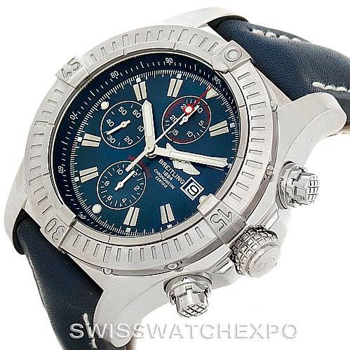 7645A Breitling Aeromarine Super Avenger Steel Blue Strap Watch A13370 SwissWatchExpo