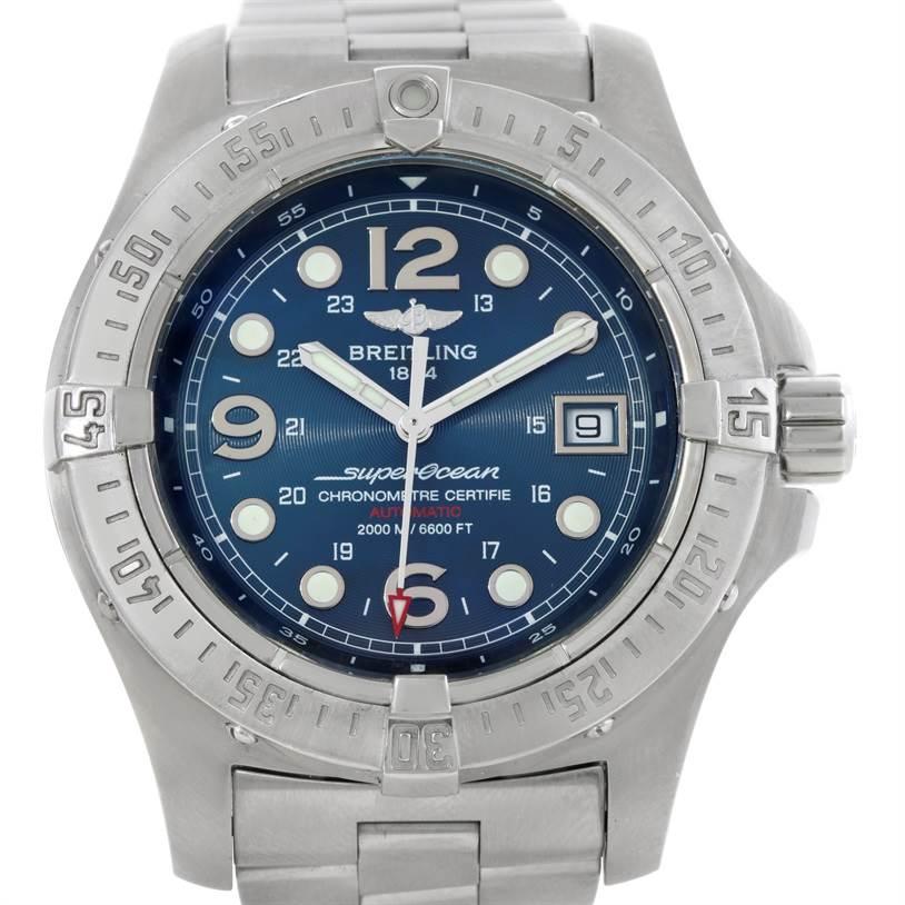 9184 Breitling Aeromarine Superocean Steelfish Blue Dial Watch A17390 SwissWatchExpo