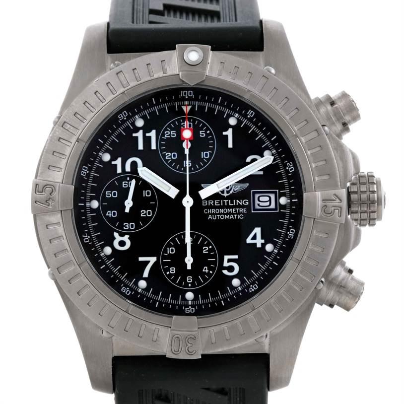 9562 Breitling Aeromarine Avenger Titanium Black Dial Watch E13360 SwissWatchExpo