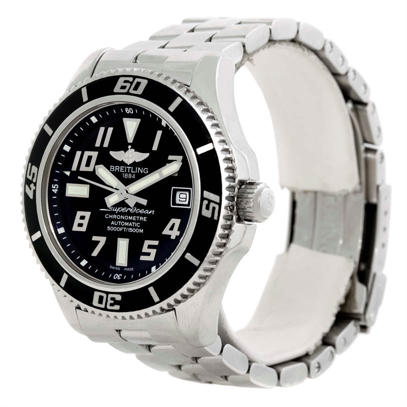 9794 Breitling Superocean 42 Abyss Black Dial Steel Mens Watch A17364  SwissWatchExpo