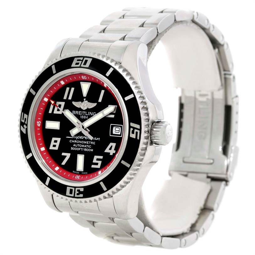 9814 Breitling Superocean 42 Abyss Red Steel Mens Watch A17364  SwissWatchExpo
