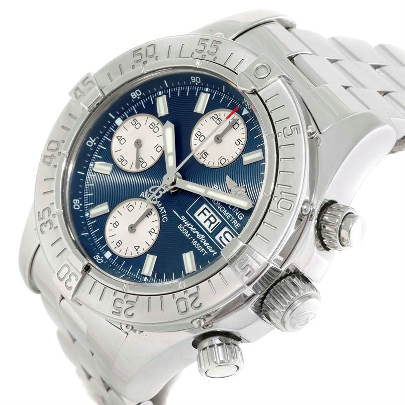 9825 Breitling Aeromarine Superocean Chrono Blue Dial Mens Watch A13340 SwissWatchExpo