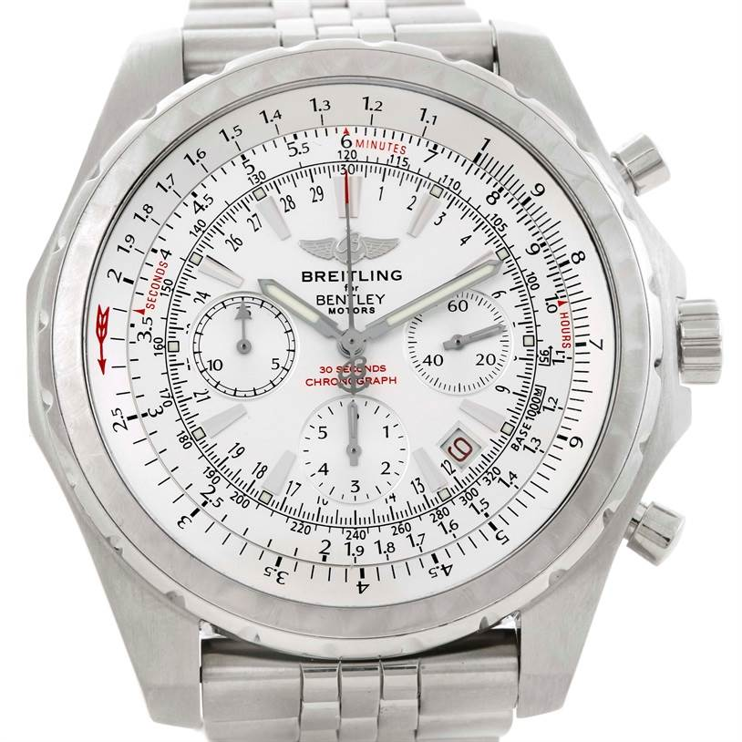 10056 Breitling Bentley Motors Chronograph White Dial Mens Watch A25363 SwissWatchExpo