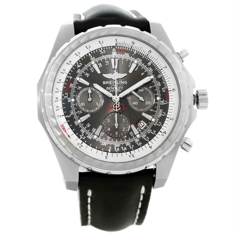 10084 Breitling Bentley Motors T Grey Dial Mens Steel Watch A25363 Unworn SwissWatchExpo