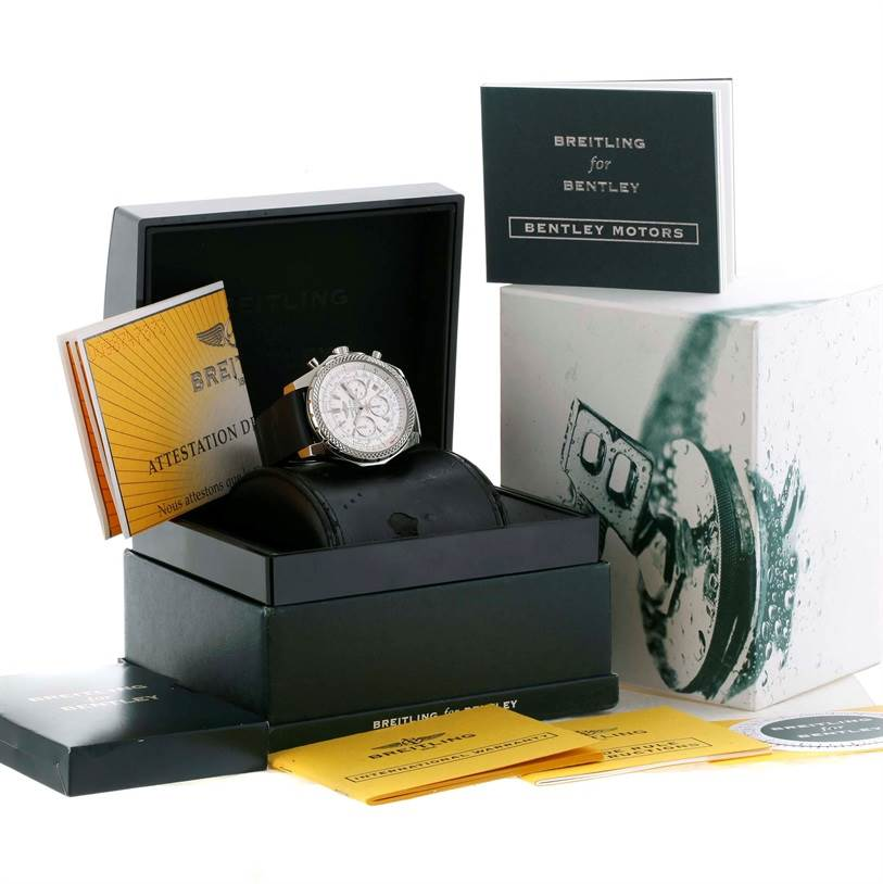 11153 Breitling Bentley Motors Chronograph White Dial Mens Watch A25362 SwissWatchExpo