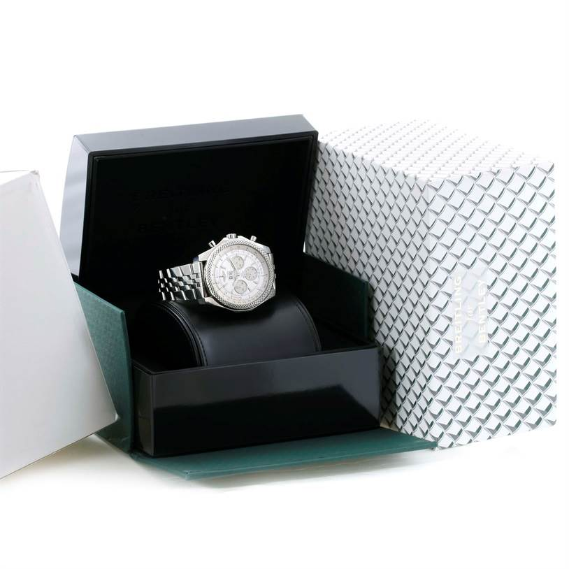 Breitling Bentley 6.75 Speed Chronograph White Dial Mens Watch A44364 SwissWatchExpo