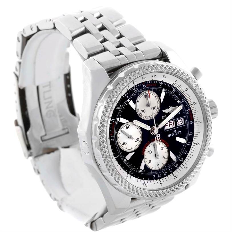 11257 Breitling Bentley Motors GT Black Dial Steel Mens Watch A13362 SwissWatchExpo