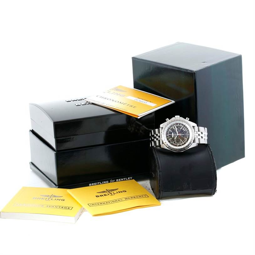 11236 Breitling Bentley Motors T Grey Dial Steel Watch A25363 Box Papers SwissWatchExpo
