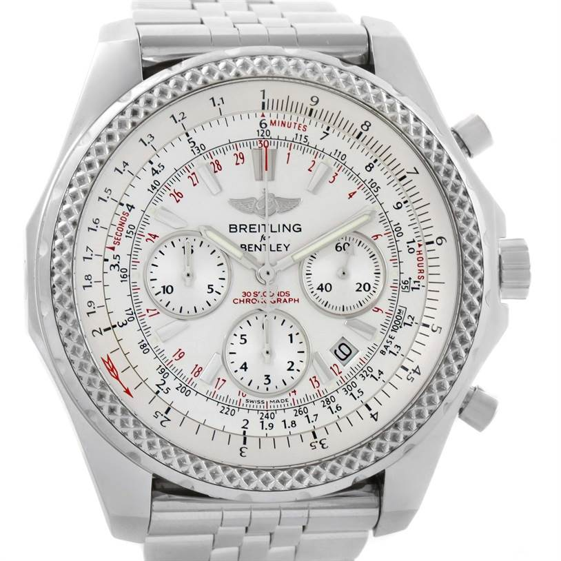11641 Breitling Bentley Motors Chronograph Silver Dial Mens Watch A25362 SwissWatchExpo