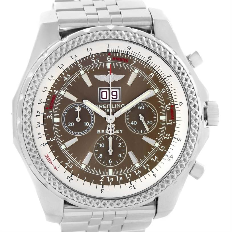 10783 Breitling Bentley Motors Bronze Dial Steel Mens Watch A44362 Box Papers SwissWatchExpo