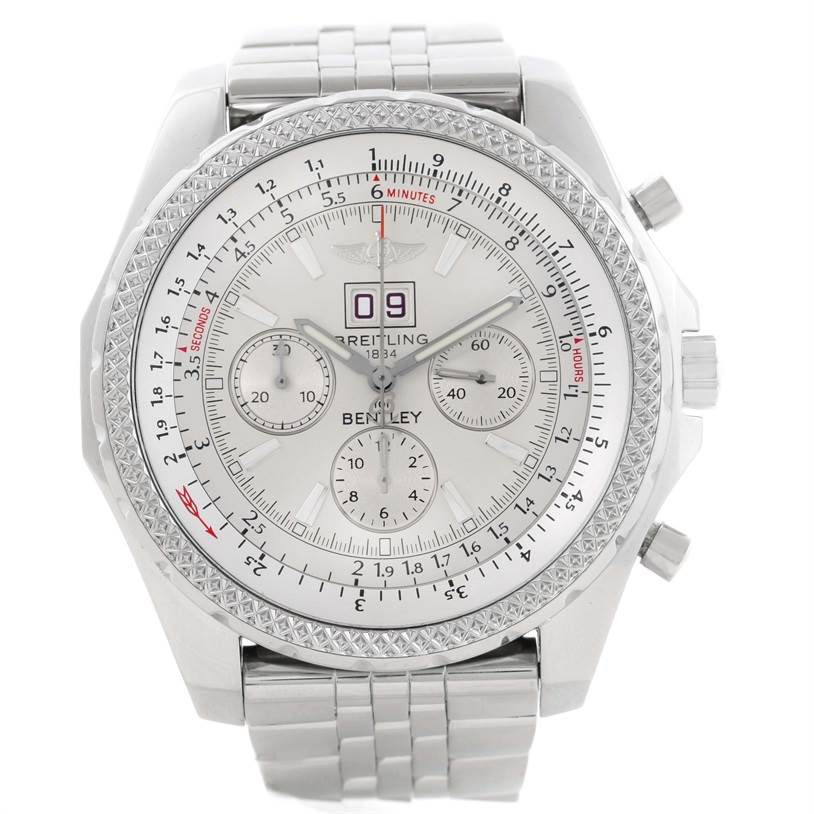 Breitling Bentley Motors Chrono Silver Dial Steel Mens Watch A44362 SwissWatchExpo