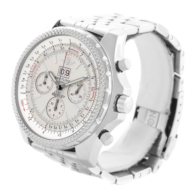 11682 Breitling Bentley Motors Chrono Silver Dial Steel Mens Watch A44362 SwissWatchExpo