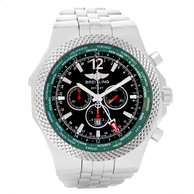 11996 Breitling Bentley Chronograph GMT Green Dial Limited Edition Watch A47362 SwissWatchExpo
