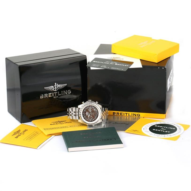 12299 Breitling Bentley Motors T Bronze Dial Steel Watch A25363 Box Papers SwissWatchExpo