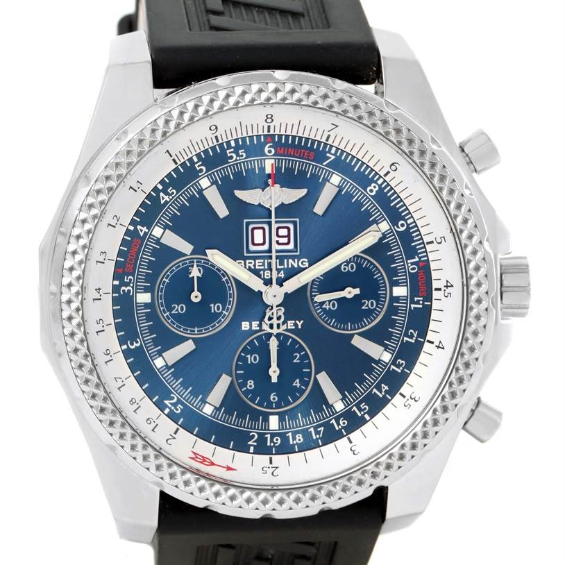 11893 Breitling Bentley Motors Blue Dial Ruber Strap Steel Mens Watch A44362 SwissWatchExpo