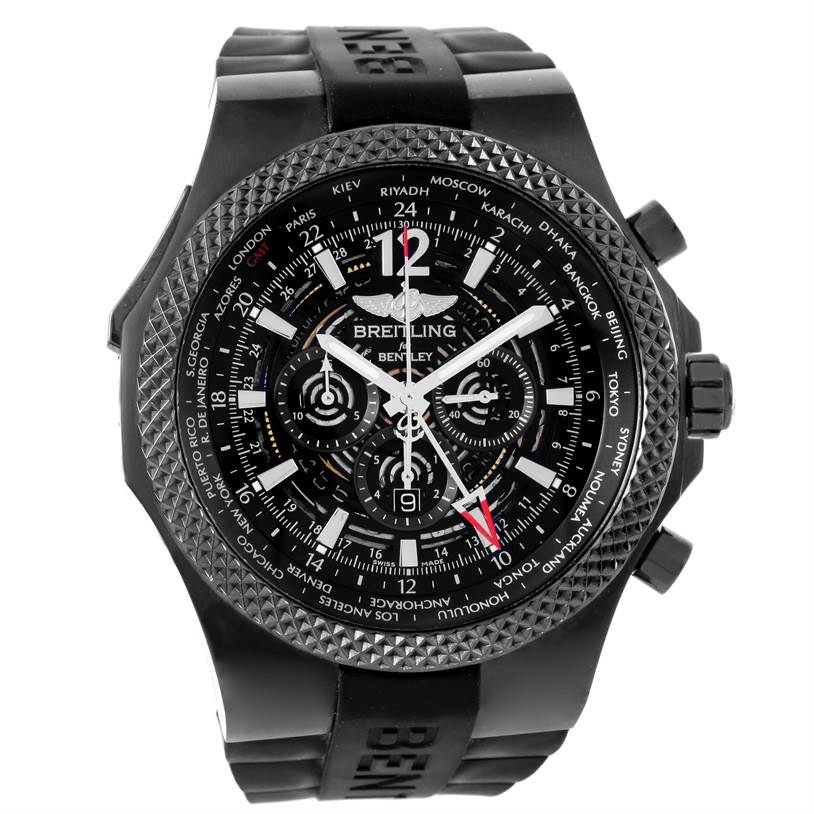 12408 Breitling Bentley GMT Midnight Carbon Ruber Strap LE Watch M47362 SwissWatchExpo