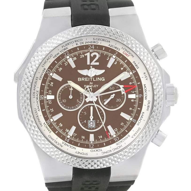 Breitling Bentley Chronograph GMT Bronze Dial Mens Watch A47362 Unworn SwissWatchExpo