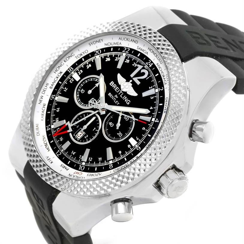 12738 Breitling Bentley Chronograph GMT Black Dial Mens Watch A47362 Unworn SwissWatchExpo