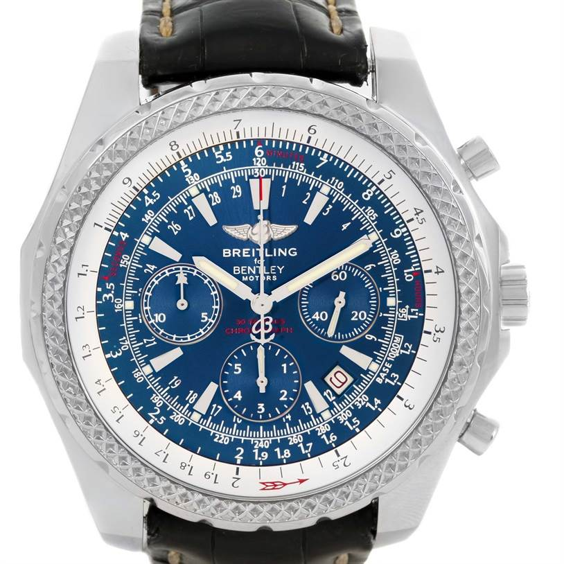 Breitling bentley motors chronograph blue dial mens watch for Breitling 1884 bentley motors special edition a25362