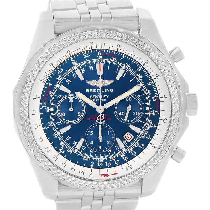 13157 Breitling Bentley Motors Blue Dial Chronograph Mens Watch A25362 SwissWatchExpo