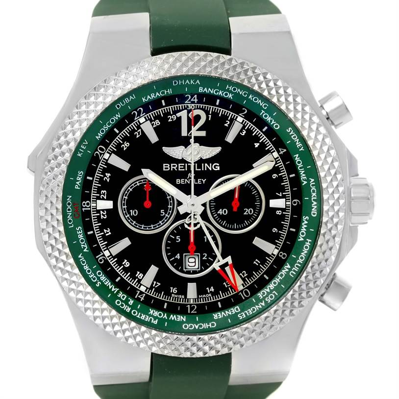 13228 Breitling Bentley GMT Green Rubber Strap LE Watch A4736254/B919 Unworn SwissWatchExpo