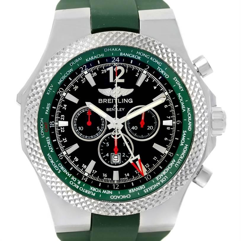 Breitling Bentley GMT Green Rubber Strap LE Watch A4736254/B919 Unworn SwissWatchExpo
