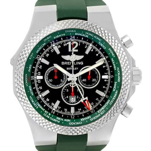Photo of Breitling Bentley GMT Green Rubber Strap LE Watch A4736254/B919 Unworn