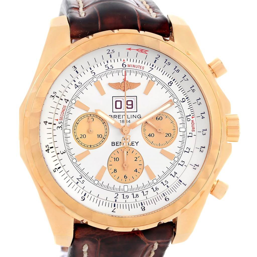 14180 Breitling Bentley 6.75 18K Rose Gold Chronograph LE Watch H44363 SwissWatchExpo