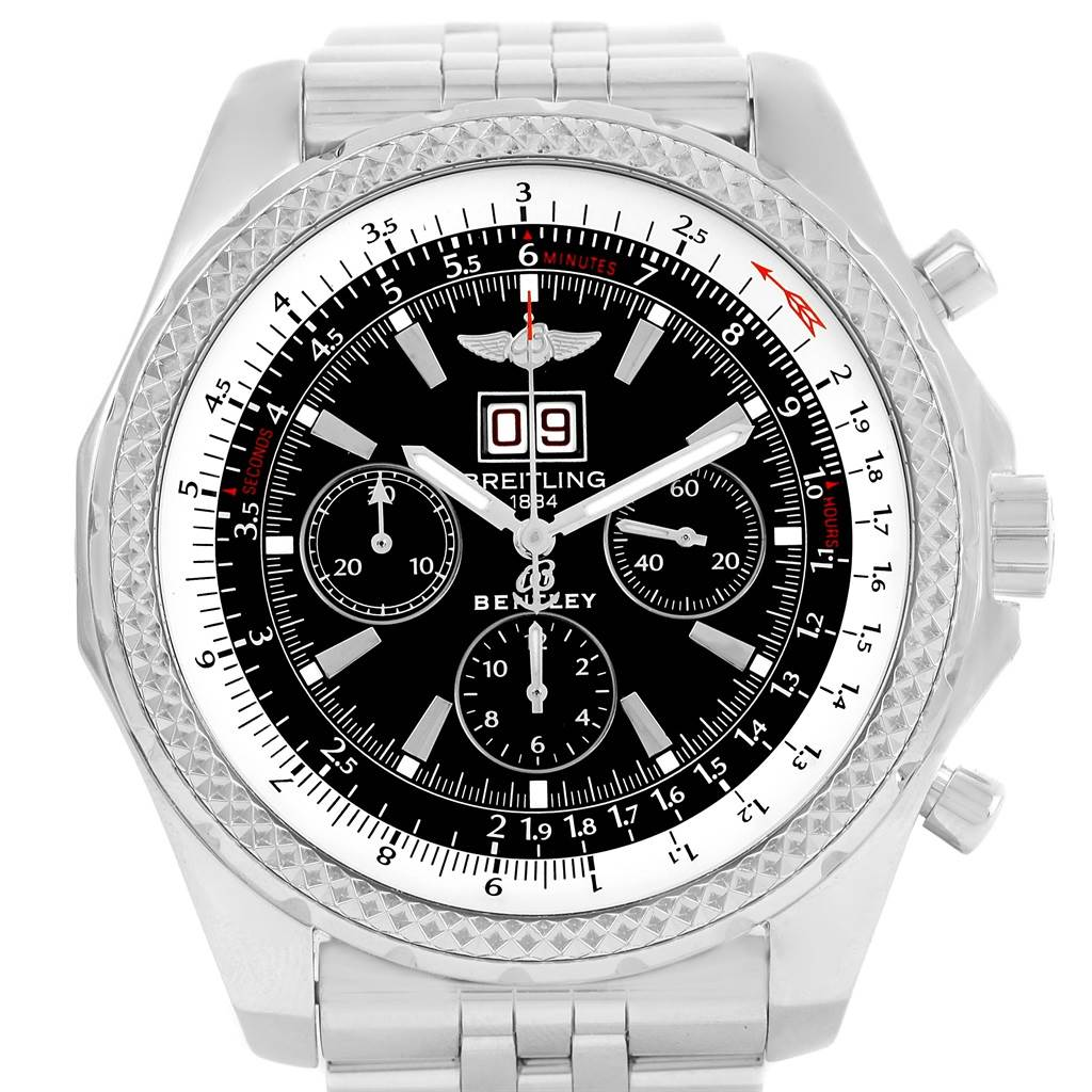 13971 Breitling Bentley Motors Chrono Black Dial Mens Watch A44362 Box Papers SwissWatchExpo