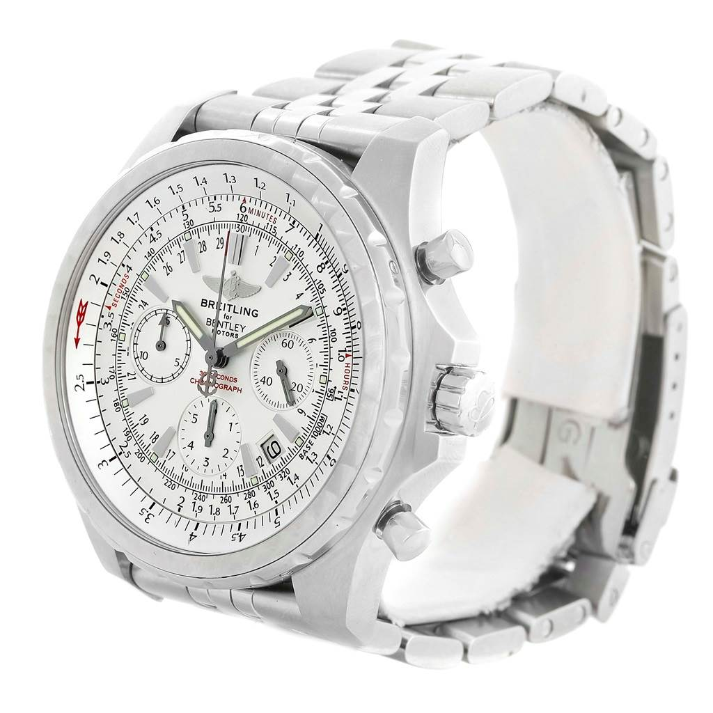 14247 Breitling Bentley Motors T White Dial Steel Watch A25363 Box Papers SwissWatchExpo