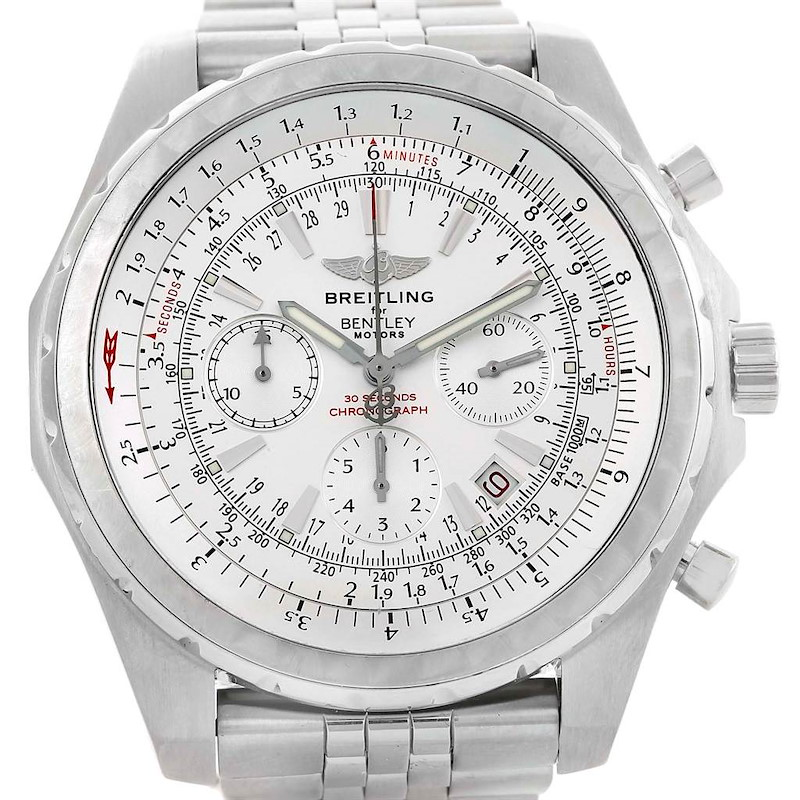 Breitling Bentley Motors T White Dial Steel Watch A25363 Box Papers SwissWatchExpo