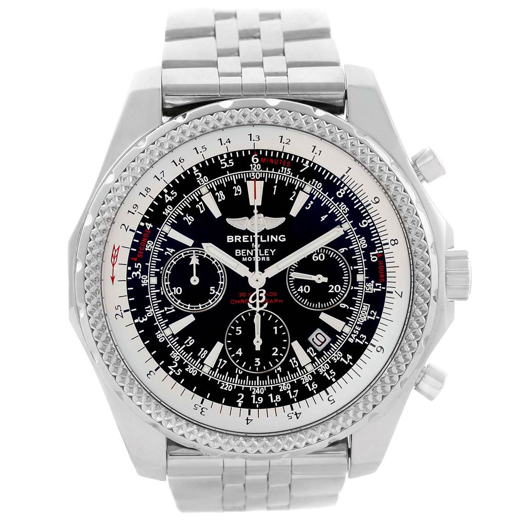 14308 Breitling Bentley Motors Chronograph Black Dial Mens Watch A25362 SwissWatchExpo