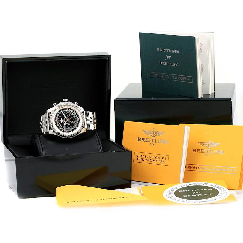 Breitling Bentley Motors Chronograph Black Dial Mens Watch A25362 SwissWatchExpo