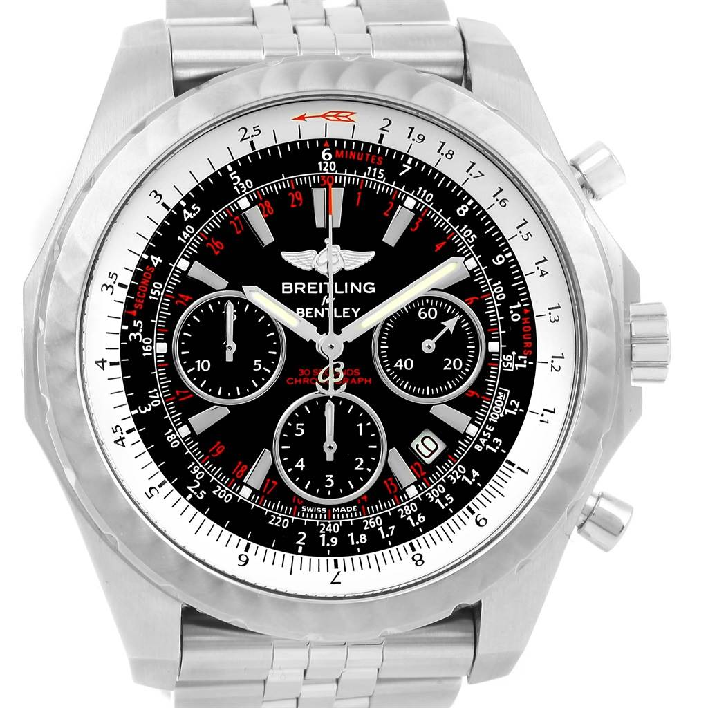 14261 Breitling Bentley Motors T Speed Black Dial Watch A25365 Box Papers SwissWatchExpo