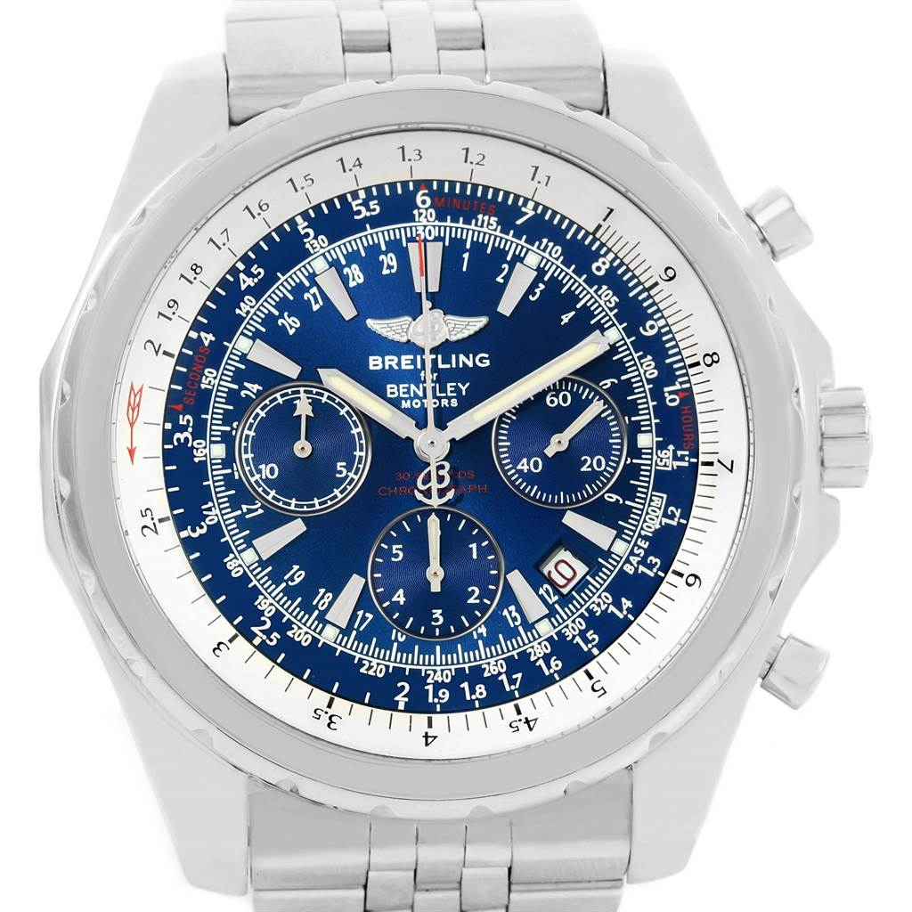 13897 Breitling Bentley Motors Blue Dial Chronograph Mens Watch A25362 SwissWatchExpo