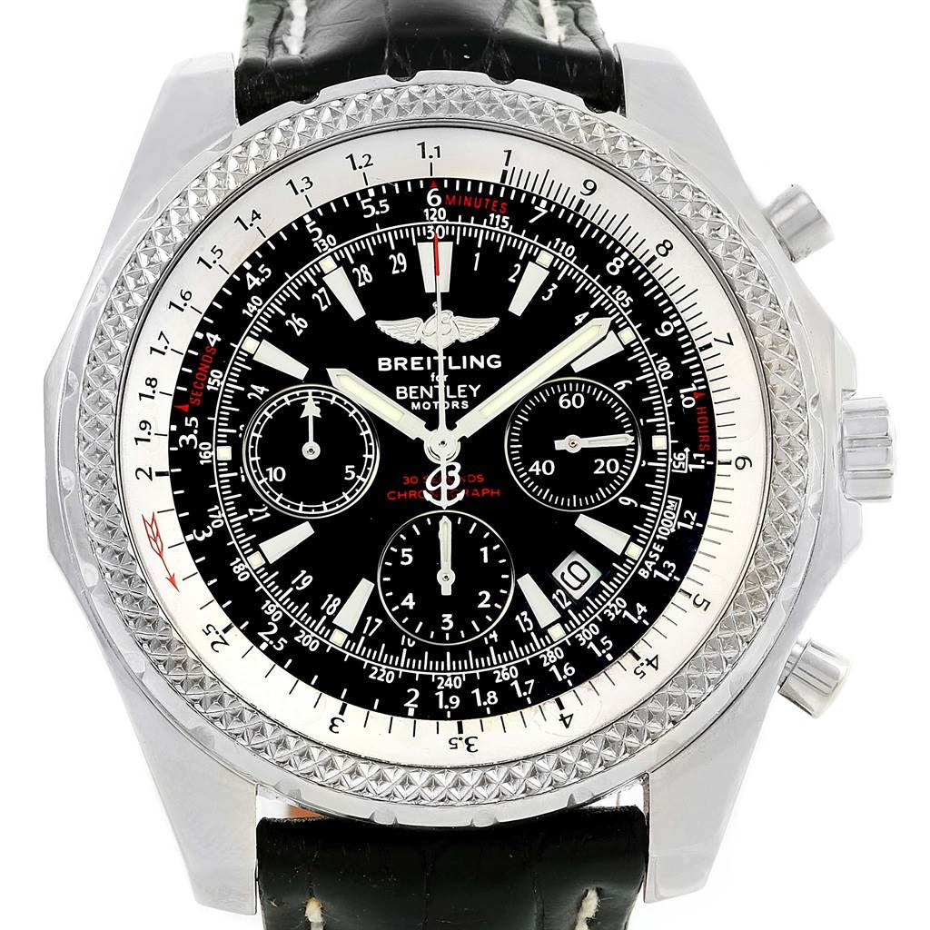14554 Breitling Bentley Motors Chronograph Black Dial Mens Watch A25362 SwissWatchExpo