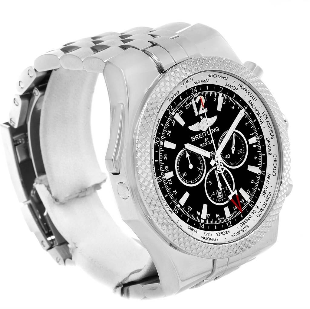 14902 Breitling Bentley GMT Black Dial Mens Watch A47362 Box Papers SwissWatchExpo