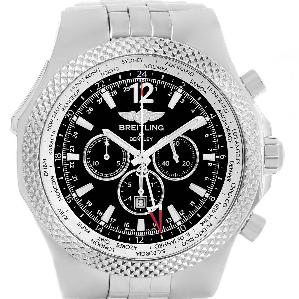 Breitling Bentley GMT Black Dial Mens Watch A47362 Box Papers SwissWatchExpo