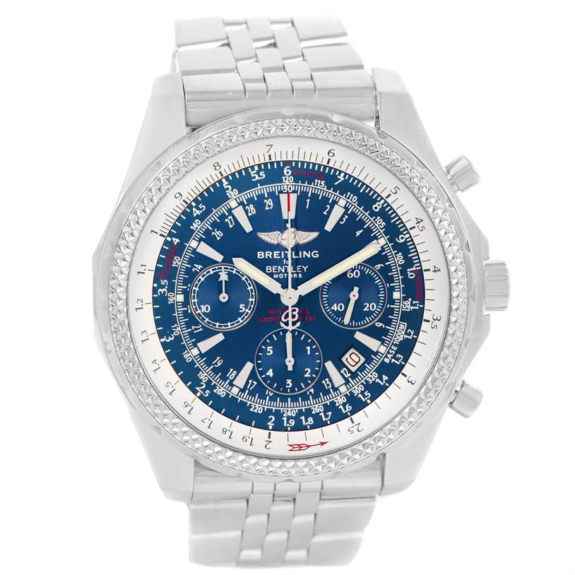 15502 Breitling Bentley Motors Blue Dial Chronograph Mens Watch A25362 SwissWatchExpo